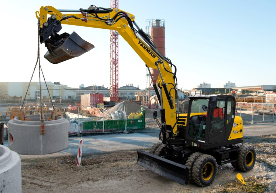 Wheeled excavator (Rubber duck) available for hire
